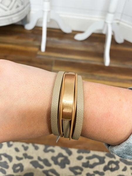 Leather  Wrap Magnetic Clasp Cuff