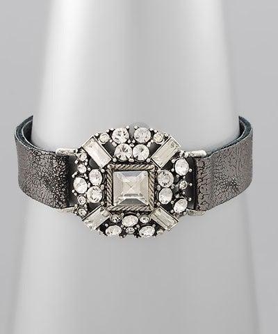 Jasmine   Crystal Leather Strap Bracelet