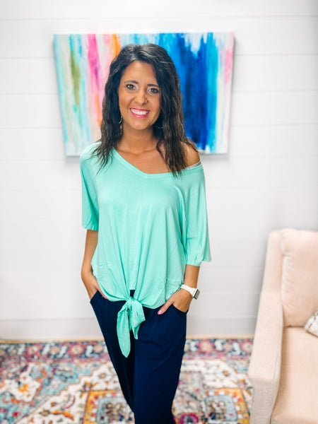 Serene   Luxe Rayon V-Neck Tie Top