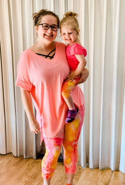 Women's | Bizzy Butter Capris : Stacia Pink & Orange Watercolor
