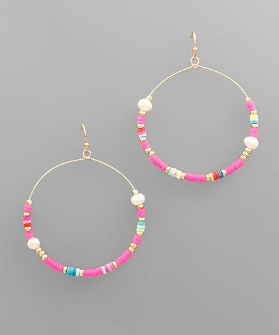 Kayla | Pearl Charm Rubber Circle Earrings
