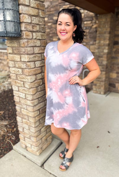 Carrie | Light Pink and Gray Tie-Dye T-Shirt Dress