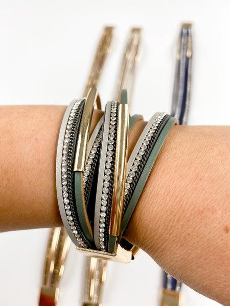 Bling + Leather Wrap Bracelets