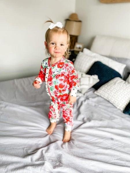 EDEN  Floral   One Piece Ruffle Pajamas