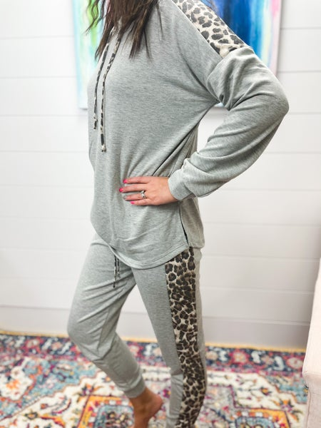 Miranda | Gray with Leopard Accent Lounge Pants