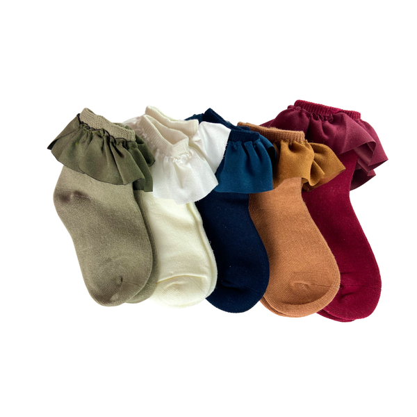 Elaina Suede Ruffle short Socks