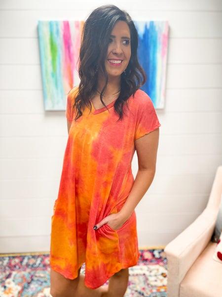 Linda | Pink & Orange Tie-Dye T-Shirt Dress