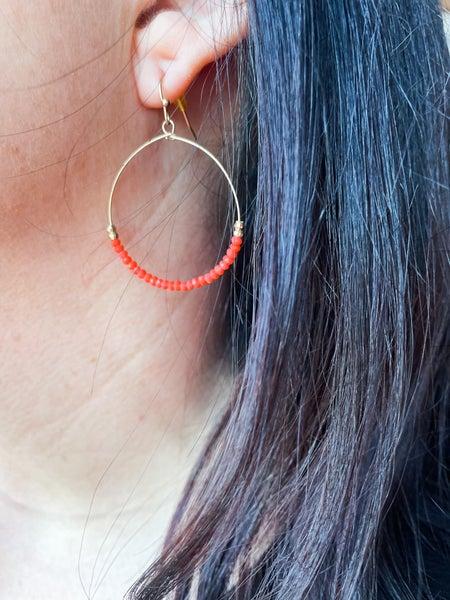 The Crystal | Gold Beaded Hoop Earrings
