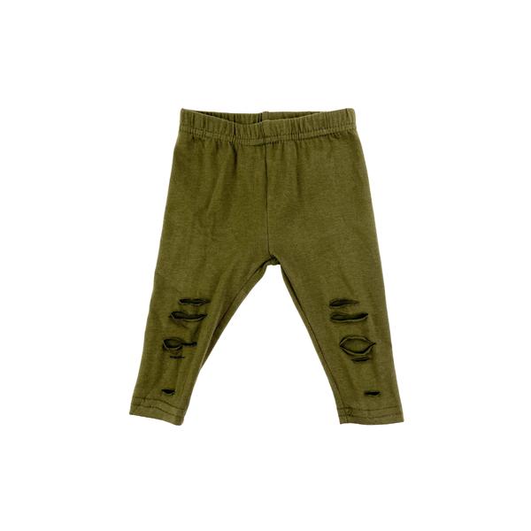 Olive Green Ripped Leggings