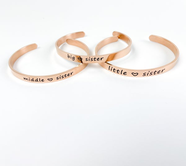 Sister Cuff Bracelets | Little | Middle | Big Sister