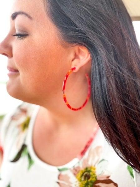 "Laryn   Lucite Hoop Earrings   3"""