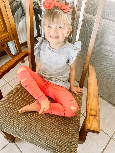 Watermelon Pink Ripped Leggings
