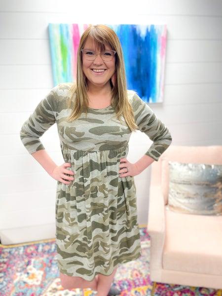 Channing Dress | Camo Print Long Sleeves Lightweight Sweater Dress