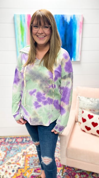Mallory | Purple and Green Tie Dye Waffle Hoodie