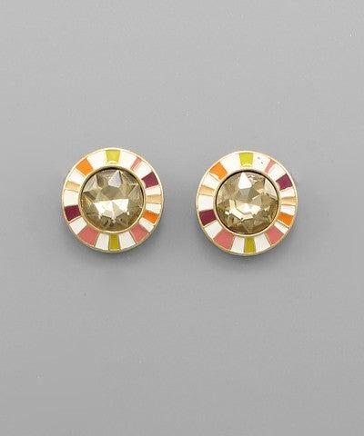 Amber   Crystal & Color Edge Earrings