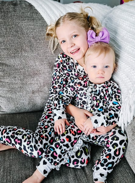 Zoey | Cheetah One Piece Ruffle Pajamas