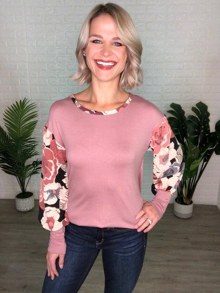 Rosie Mauve Floral Contrast Top