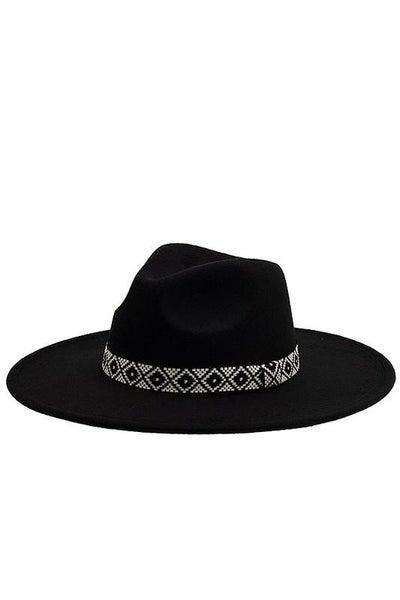 Black Boho Pattern Band Adjustable Panama Hat