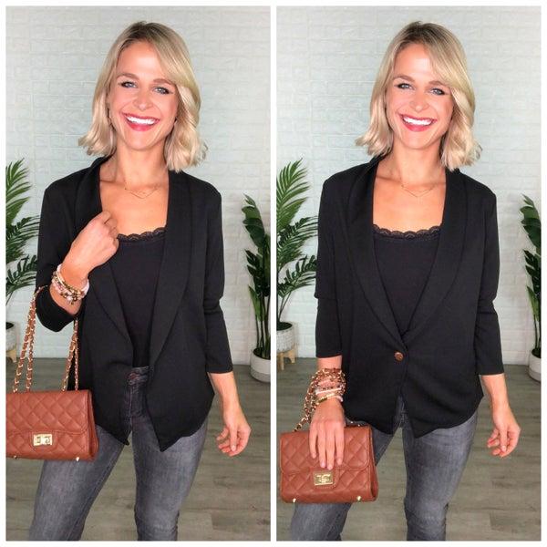 Black Single Button 3/4 Length Sleeve Stylish Blazer Jacket