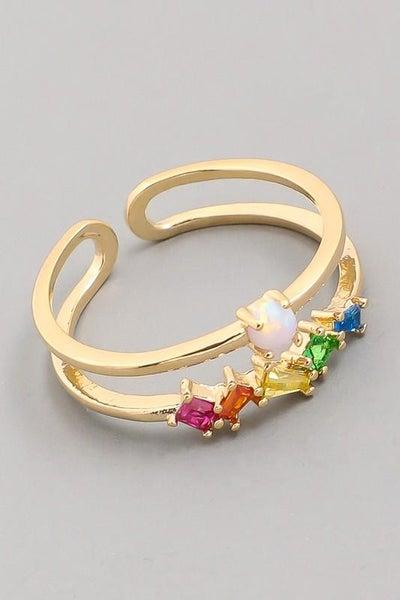 Gold Opal Rainbow Adjustable Ring