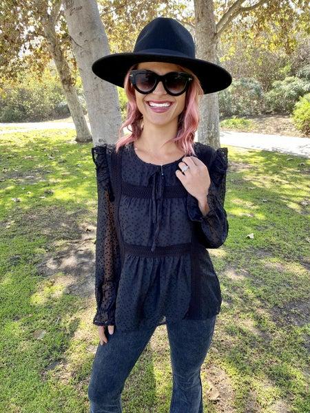 { MEGA SALE } Bohemian Couture | Black Crochet Detail Lined Blouse