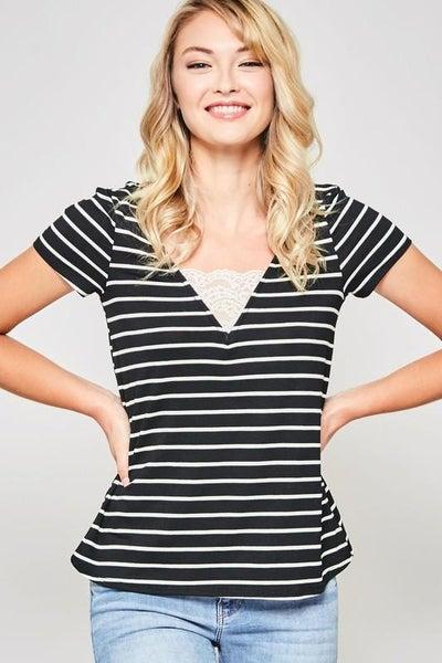 Lace Trimmed V-Neck Striped Top - Black