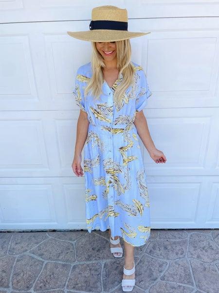 Sky Blue Vintage Vibes Feather & Leaf Midi Dress | Pockets