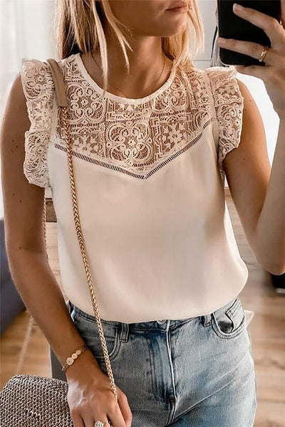 Swiss Entredeux Cream Lace Top
