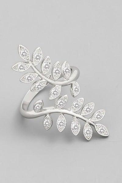 Silver Open Leaf Adjustable Ring