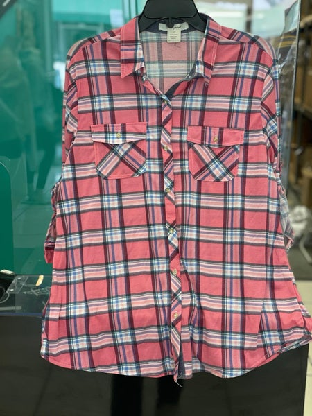 Pink Light Plaid Stretchy Button Up Top