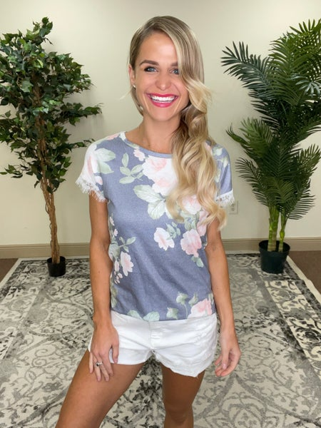 Whispering Grey Floral Eyelash Lace Trimmed Sleeve Top