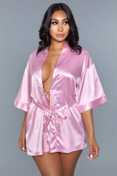 Rose Pink Satin Sash Getting Ready Robe