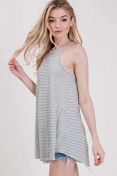 Ivory Striped Sleevless Flowy Top