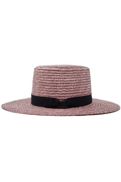 Mauve Straw Boater Hat