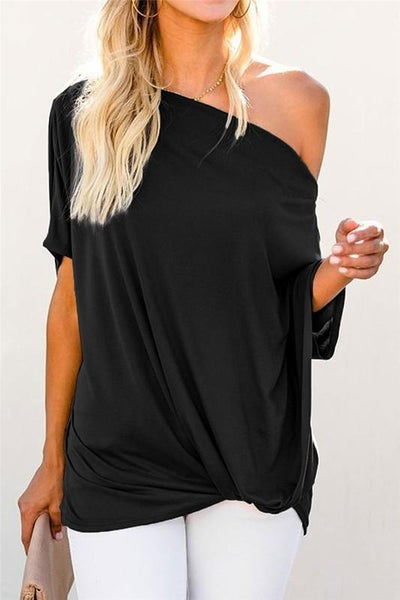 Black Off Shoulder Boho Twist Top