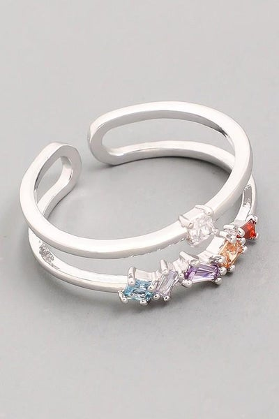 Double Band Studded Ring - Silver