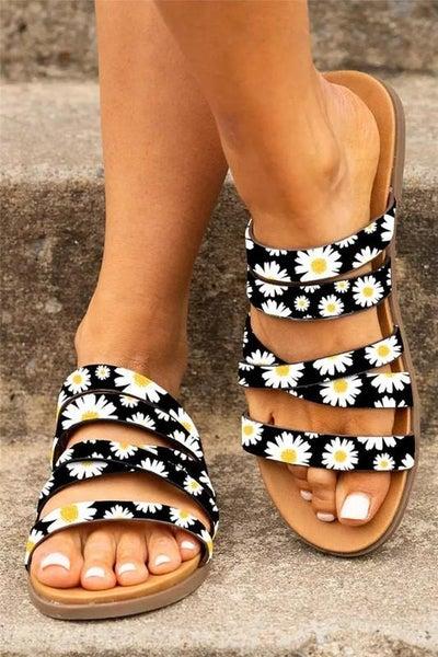 Black Sunflower Strappy Slip On Sandals