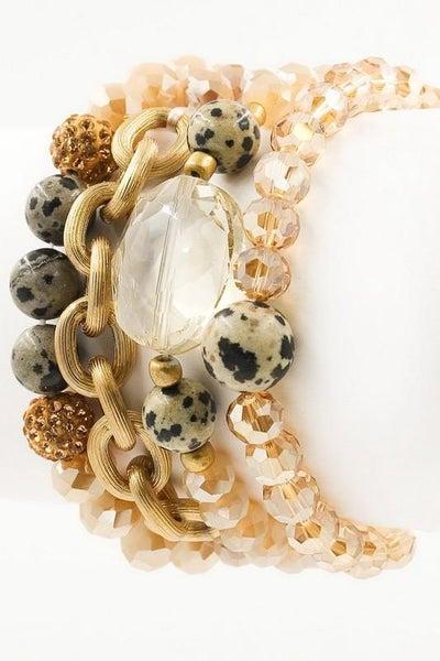 Premium Faceted Nude Charm Bracelet Set