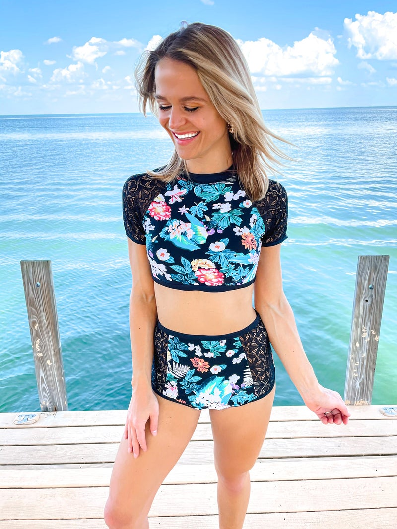 Lace Panel Sleeves & Bottom Floral 2 Piece Swimsuit