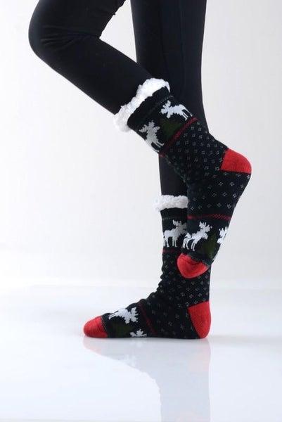 Reindeer Black Holiday Faux Sherpa Slipper Socks