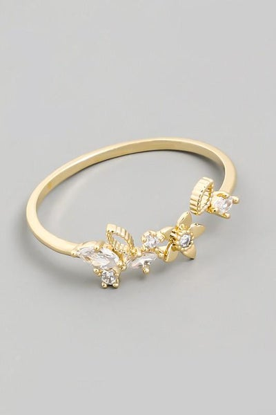 Dainty Gold Flower Open Adjustable Ring