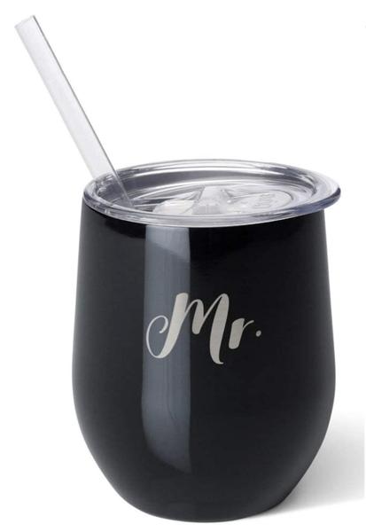 """Mr."" Black Stemless Swig Premium 14oz Wine Tumbler"