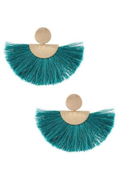 Teal Boho Tassel Fan Drop Earrings