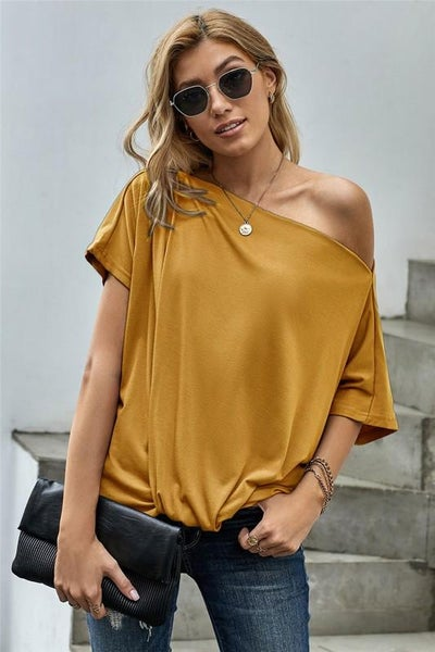 Honey Yellow Off Shoulder Boho Twist Top