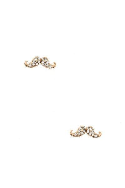 Gold Mustache Post Earrings