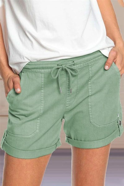 Spring Green Pocket Drawstring Shorts