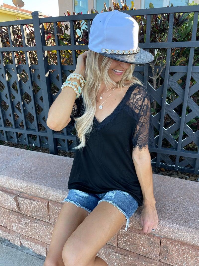 Black Venetian Lace V-Neck Top