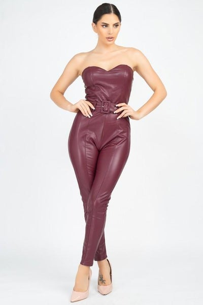 Wine Strapless Vegan Leather Belted Jumpsuit