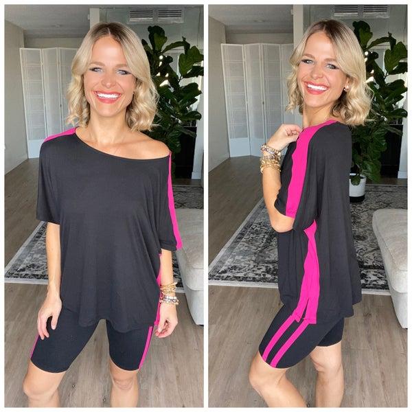 Black/Fuchsia Varsity Striped Top and Shorts Activewear / Loungewear Set