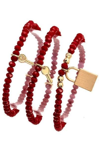 Wine Key and Lock Charm Stretch Bracelet Set